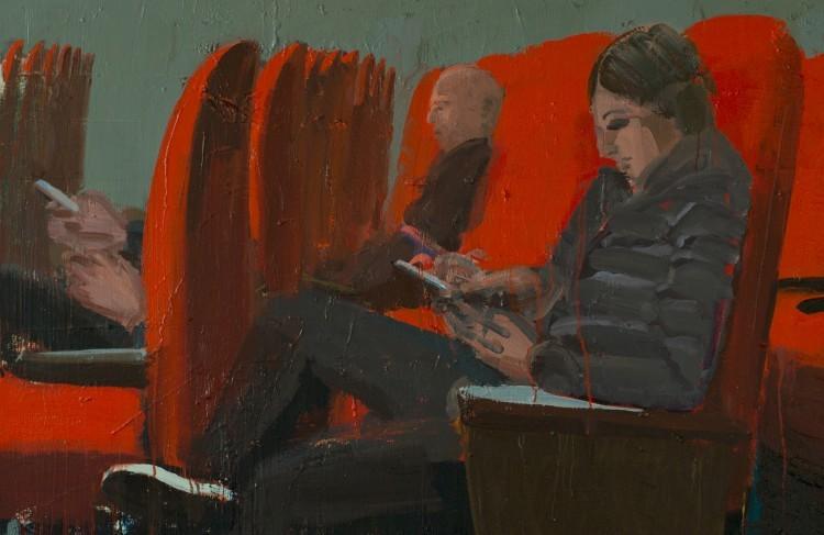 Art Alarm – Tirtzah Bassel, Theater, 2018, Öl auf Leinwand, 122 x 457 cm (Detail)