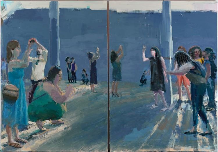 Art Alarm – Tirtzah Bassel, Pilgrimage, 2017, Öl auf Leinwand, 213.5 x 305 cm (diptych)