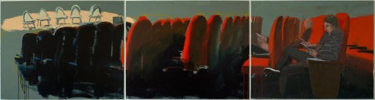 Art Alarm – Tirtzah Bassel, Theater, 2018, Öl auf Leinwand, 122 x 457 cm