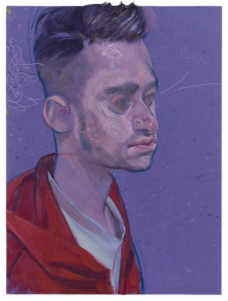 Art Alarm – Ruprecht von Kaufmann, Portrait H., 2017, Öl auf Linoleum auf Holz, 40 x 30 cm, Courtesy Galerie Thomas Fuchs, Foto: Stefan Maria Rother