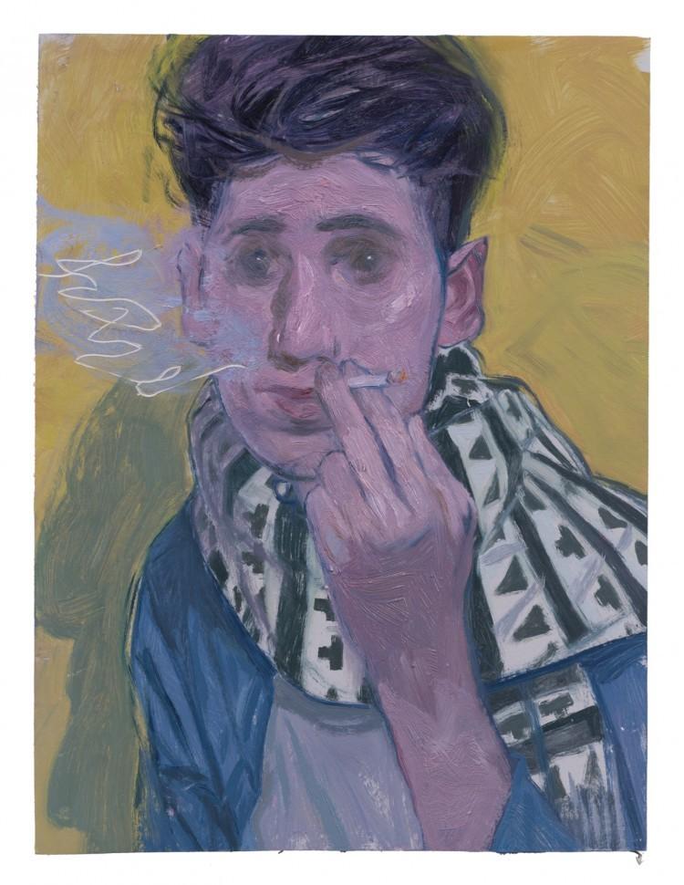Art Alarm – Ruprecht von Kaufmann, Portrait M., 2017, Öl auf Linoleum auf Holz, 40 x 30 cm, Courtesy Galerie Thomas Fuchs, Foto: Stefan Maria Rother