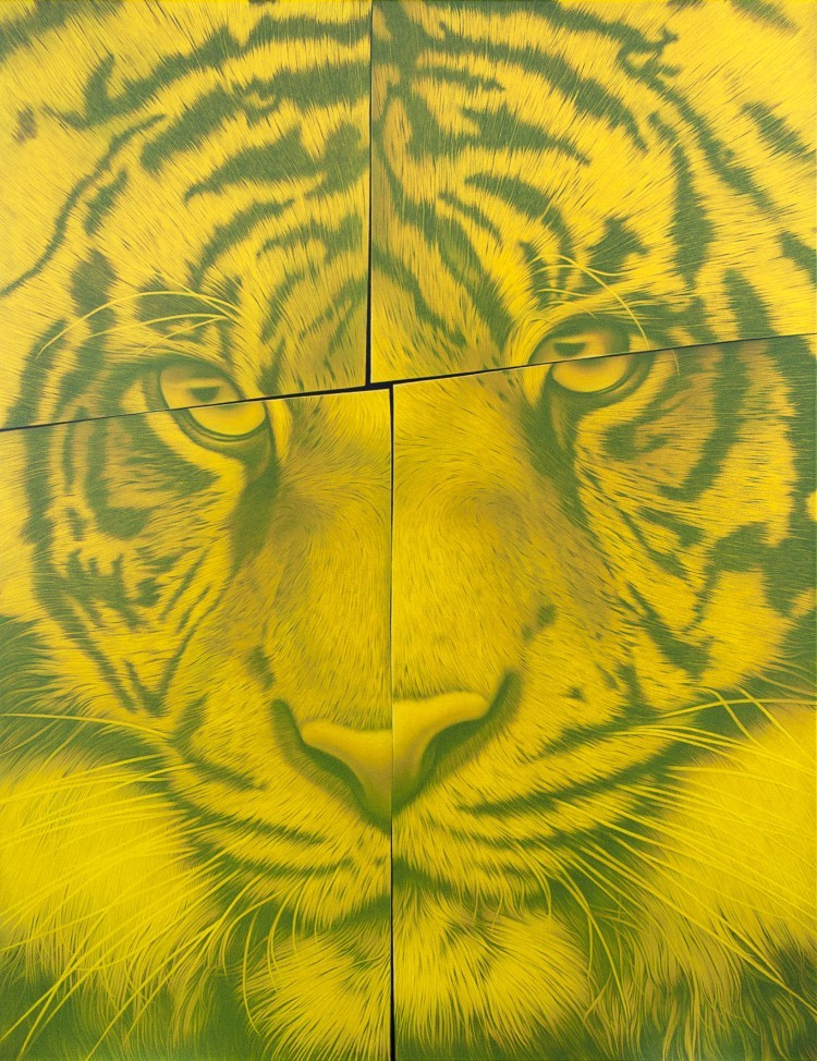 Art Alarm – Eckart Hahn: Fractal Sun, 2019, Acryl auf Leinwand, 130 x 100 cm