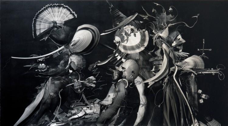 Art Alarm – Gerhard Neumaier, Verkleidet fremder Maskenzug, Öl auf Simopor, 2021