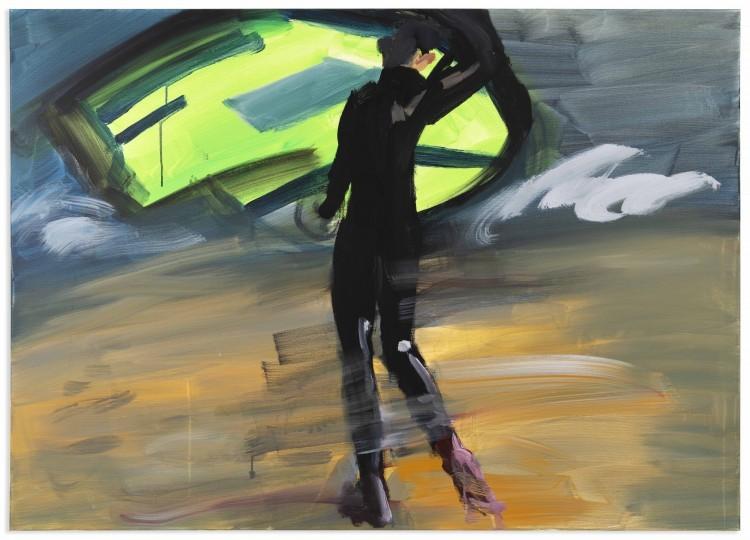 Art Alarm – Rainer Fetting, Grüner Kitesurfer, 2020, Acryl auf Leinwand, 100 x 140 cm